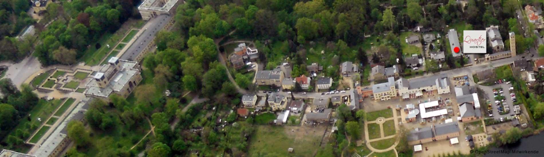 Lage des Quartier Potsdam Hostel am Park Sanssouci