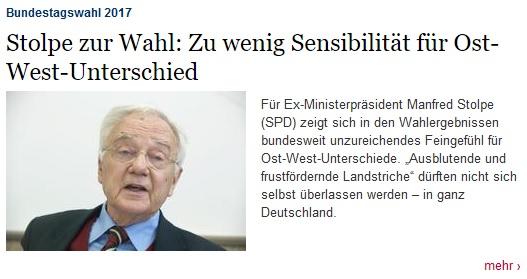 """Für Manfred Stolpe (SPD) zeigt sich in den Wahlergebnissen bundesweit unzureichendes Feingefühl für Ost-West-Unterschiede. """"Ausblutende und frustfördernde Landstriche"""" dürften nicht sich selbst überlassen werden – in ganz Deutschland."""