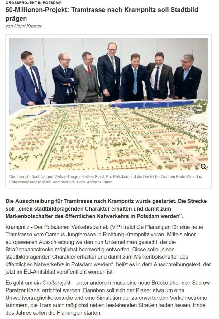 50-Millionen-Projekt für TRAM Trasse nach Krampnitz - Ist das ein Millionengrab?