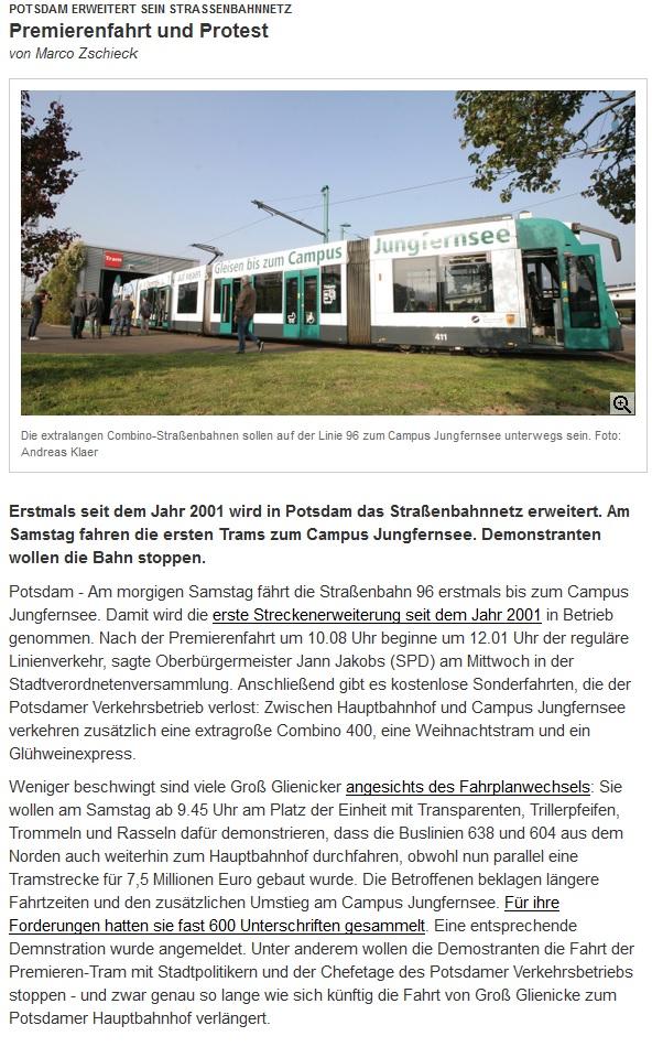 Potsdam erweitert sein Straßenbahnnetz Premierenfahrt und Protest